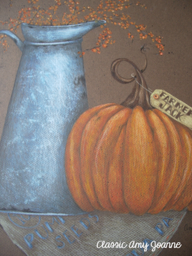 Pitcher and Pumpkin Colored Pencil Design with bonus Seed Box instructions
