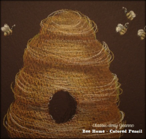 Bee Home Colored Pencil Design