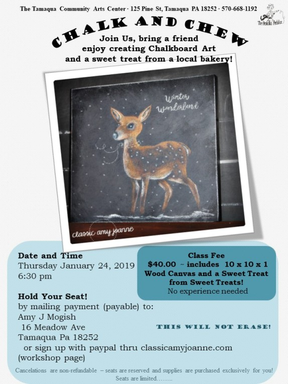 Flyer Colored Chalk and Chew - Fawn in Snow 2019