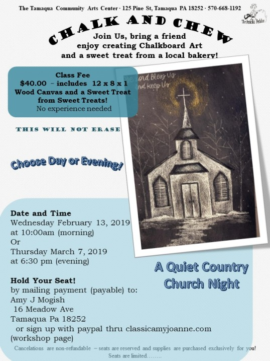 flyer colored chalk and chew - quiet country church nite